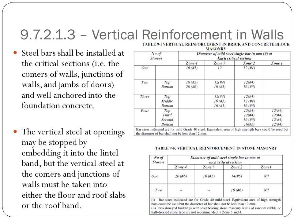 9.7.2.1.3 – Vertical Reinforcement in Walls