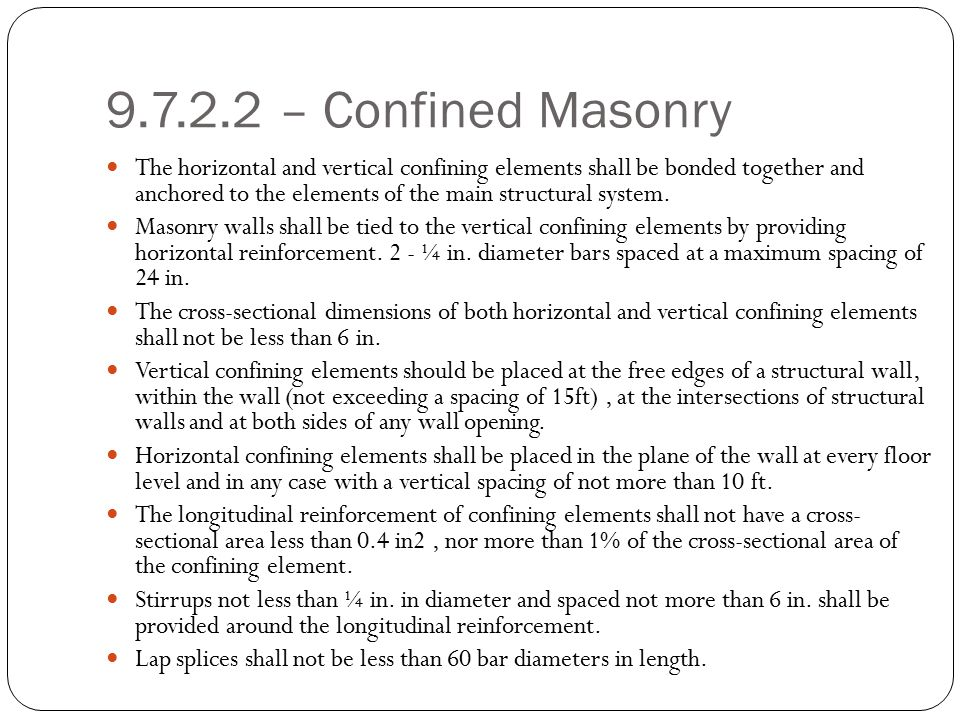 9.7.2.2 – Confined Masonry