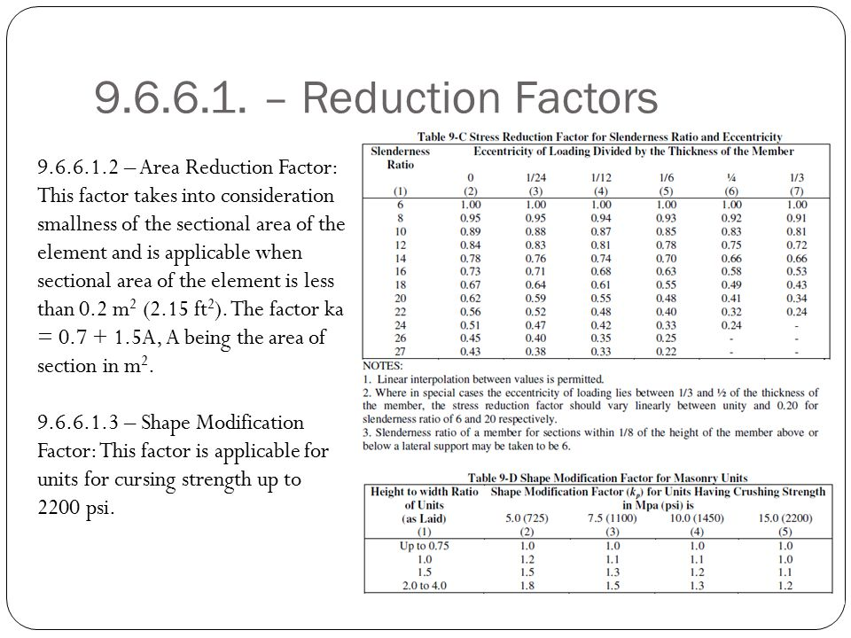 9.6.6.1. – Reduction Factors
