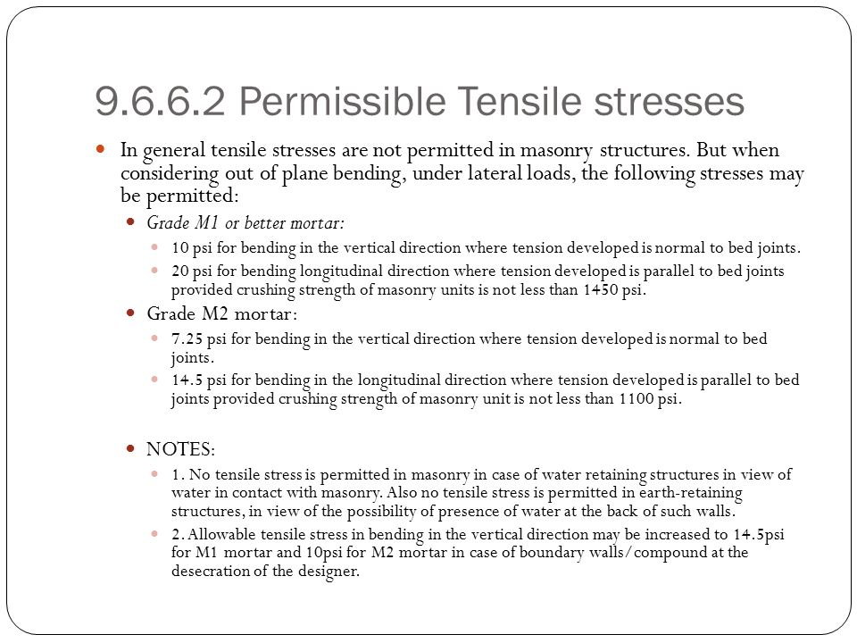 9.6.6.2 Permissible Tensile stresses