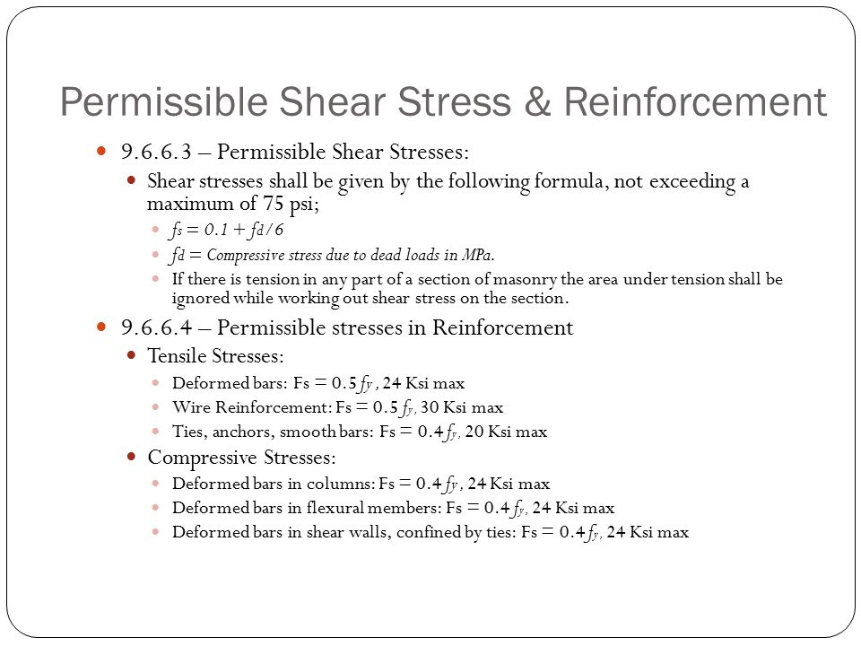 Permissible Shear Stress & Reinforcement
