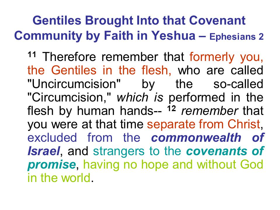 Gentiles Brought Into that Covenant Community by Faith in Yeshua – Ephesians 2