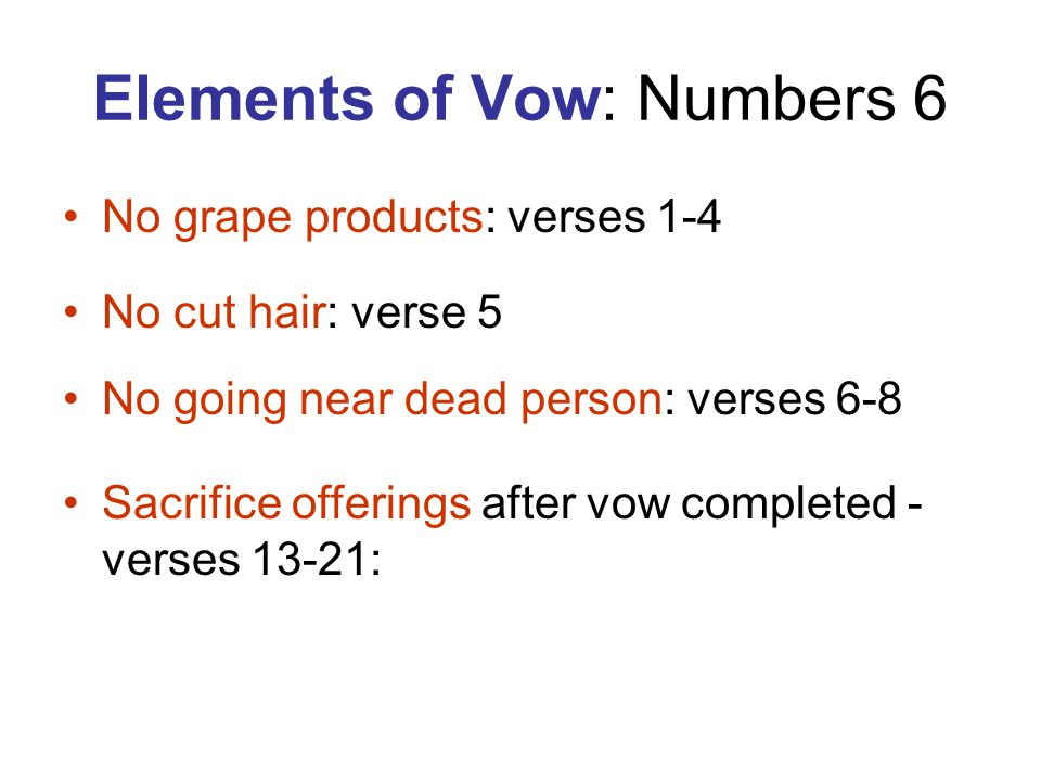 Elements of Vow: Numbers 6
