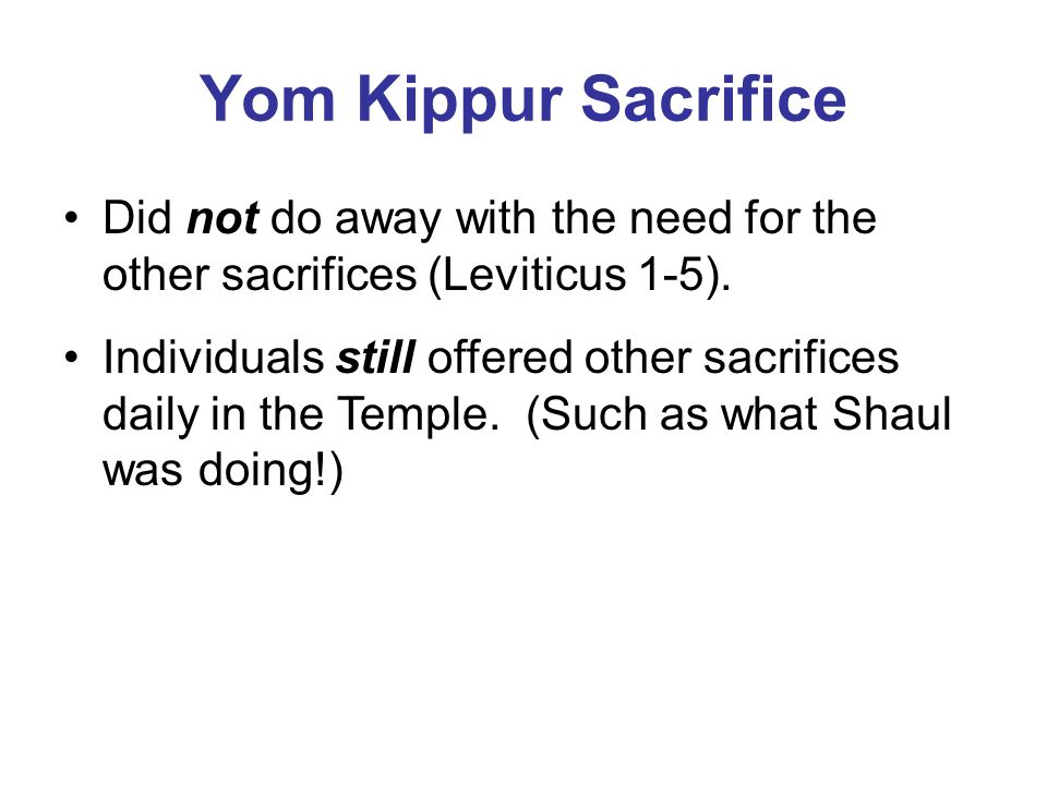 Yom Kippur Sacrifice Did not do away with the need for the other sacrifices (Leviticus 1-5).