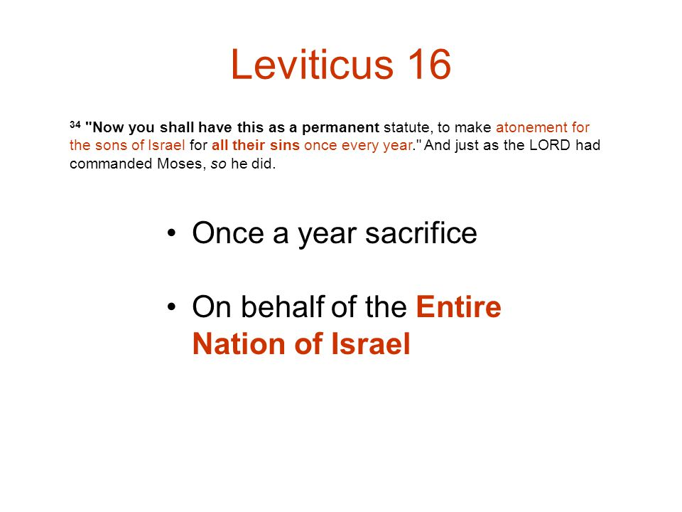 Leviticus 16 Once a year sacrifice