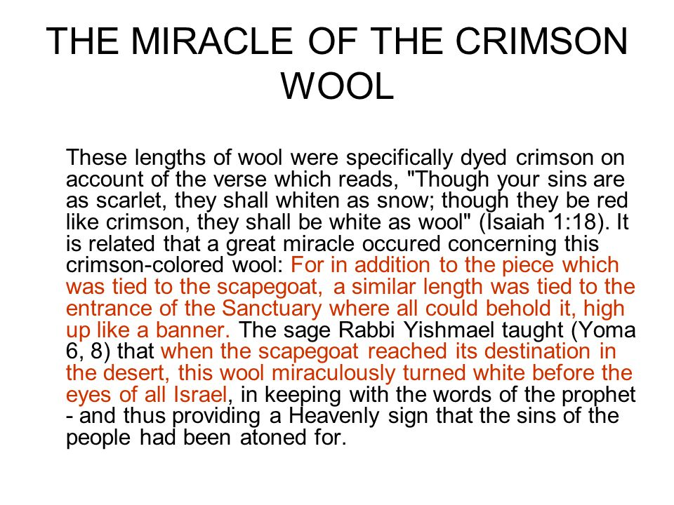 THE MIRACLE OF THE CRIMSON WOOL