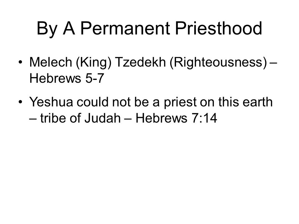 By A Permanent Priesthood