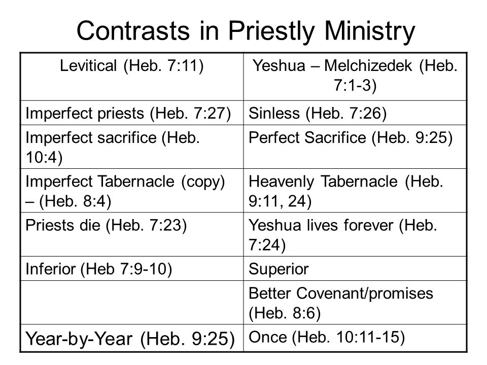 Contrasts in Priestly Ministry