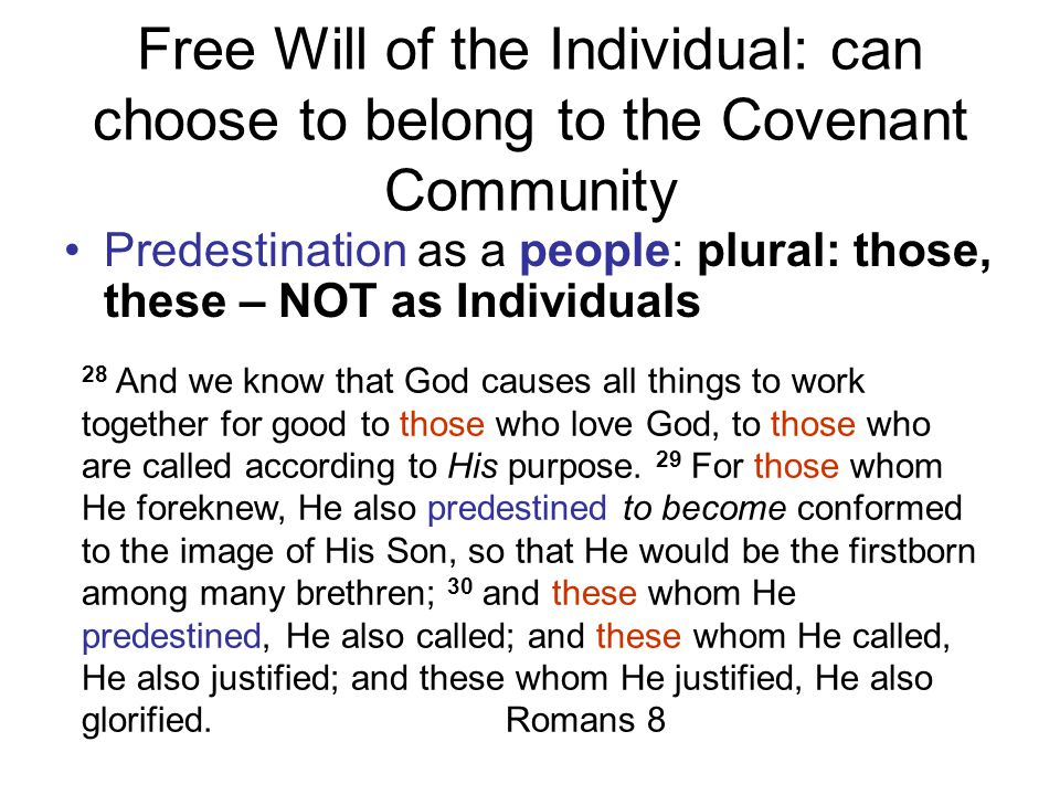 Free Will of the Individual: can choose to belong to the Covenant Community