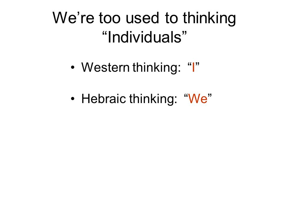 We're too used to thinking Individuals