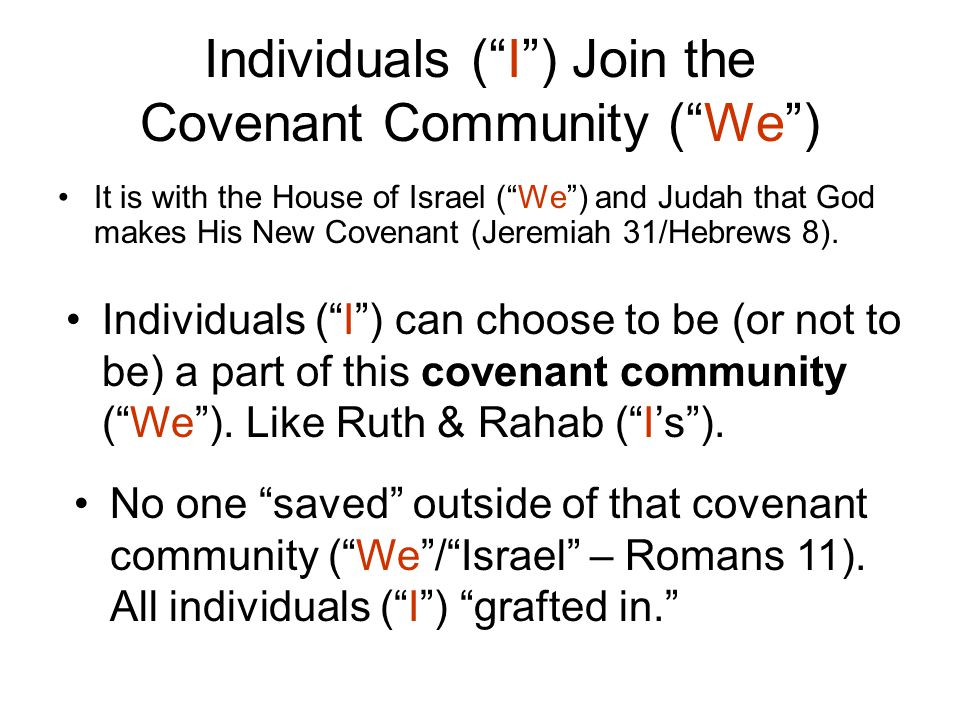 Individuals ( I ) Join the Covenant Community ( We )