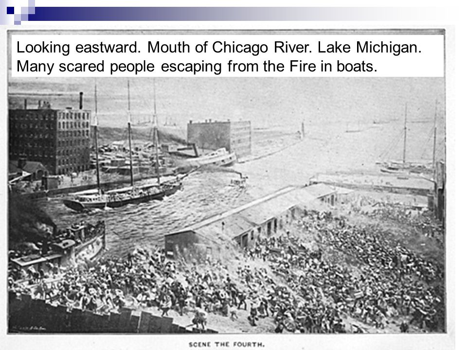 Looking eastward. Mouth of Chicago River. Lake Michigan
