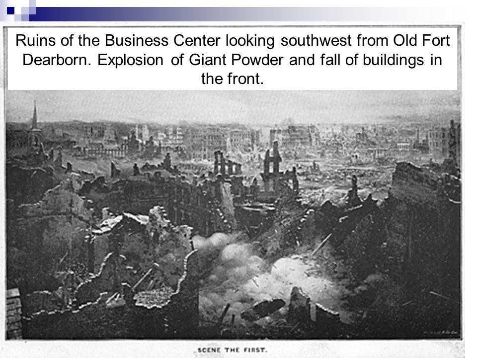Ruins of the Business Center looking southwest from Old Fort Dearborn