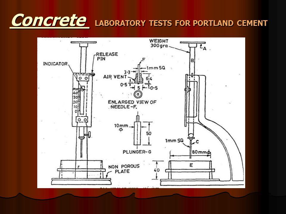 Concrete LABORATORY TESTS FOR PORTLAND CEMENT