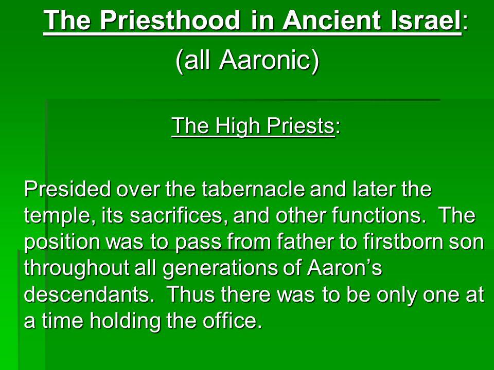 The Priesthood in Ancient Israel: