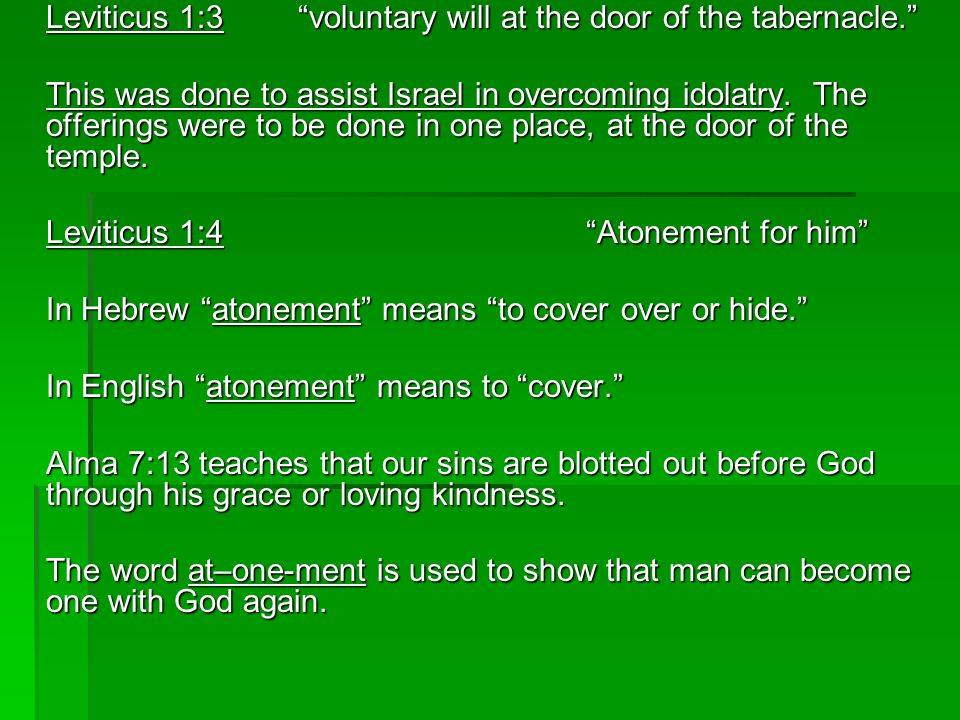 Leviticus 1:4 Atonement for him