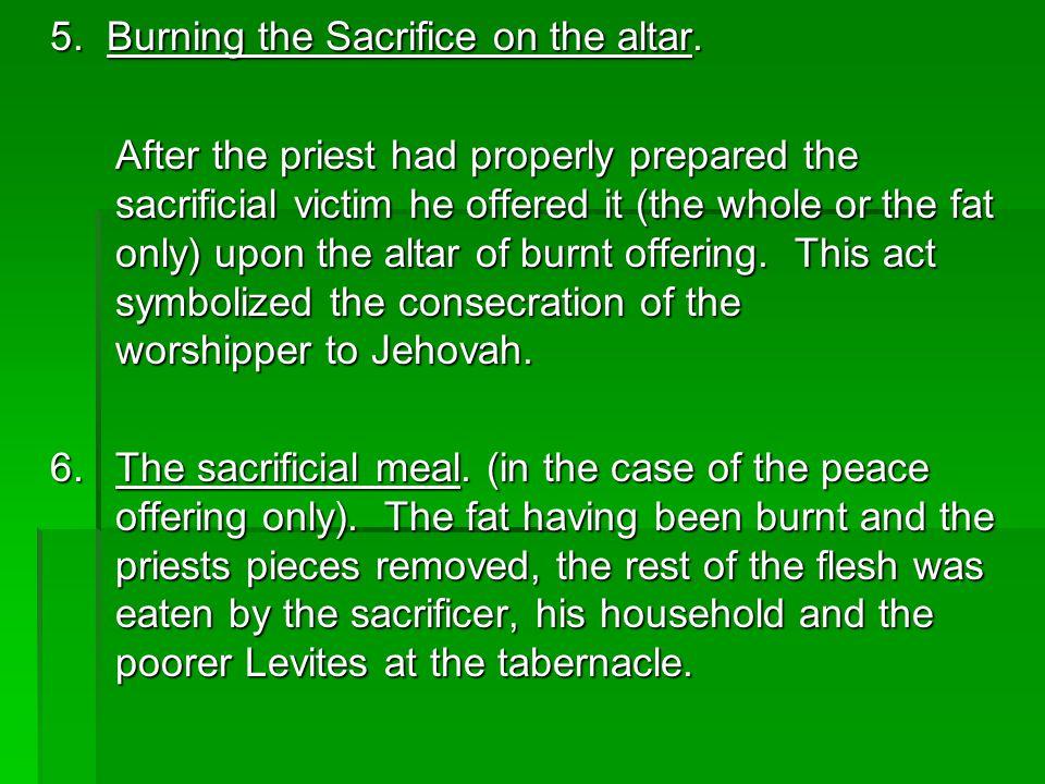 5. Burning the Sacrifice on the altar.