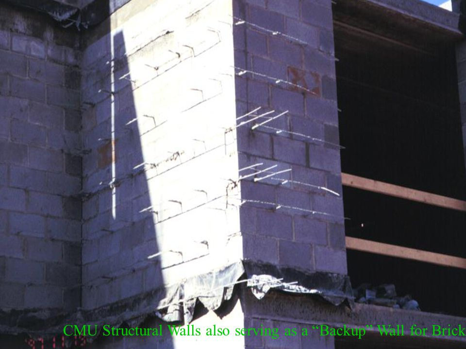 CMU Structural Walls also serving as a Backup Wall for Brick Facing