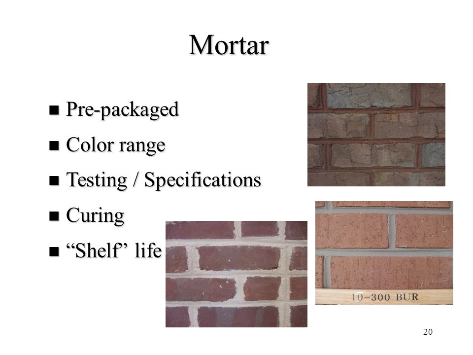 Mortar Pre-packaged Color range Testing / Specifications Curing