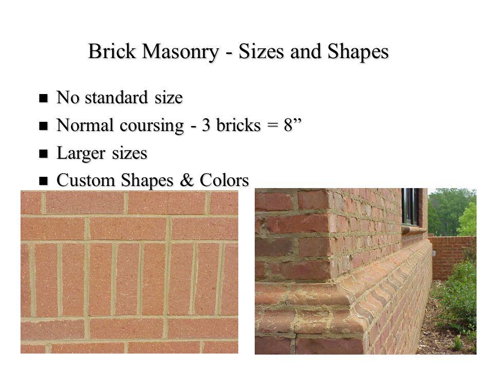 Brick Masonry - Sizes and Shapes