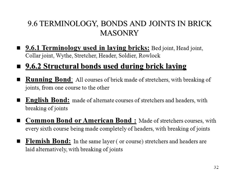 9.6 TERMINOLOGY, BONDS AND JOINTS IN BRICK MASONRY