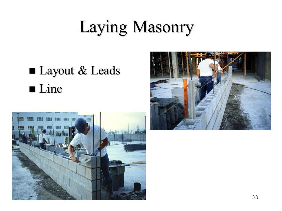 Laying Masonry Layout & Leads Line