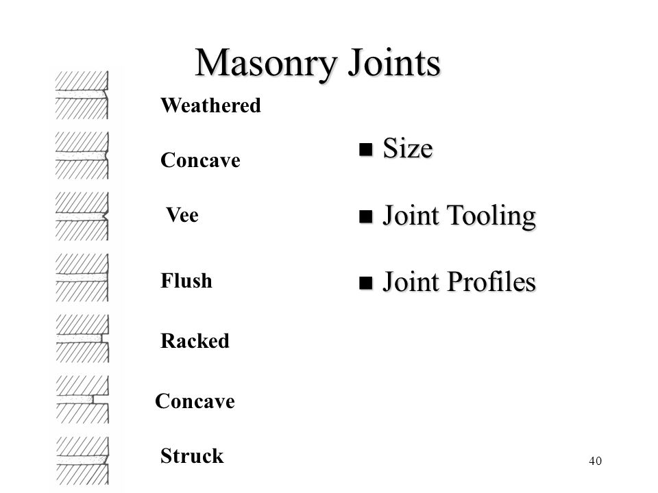 Masonry Joints Size Joint Tooling Joint Profiles Weathered Concave Vee