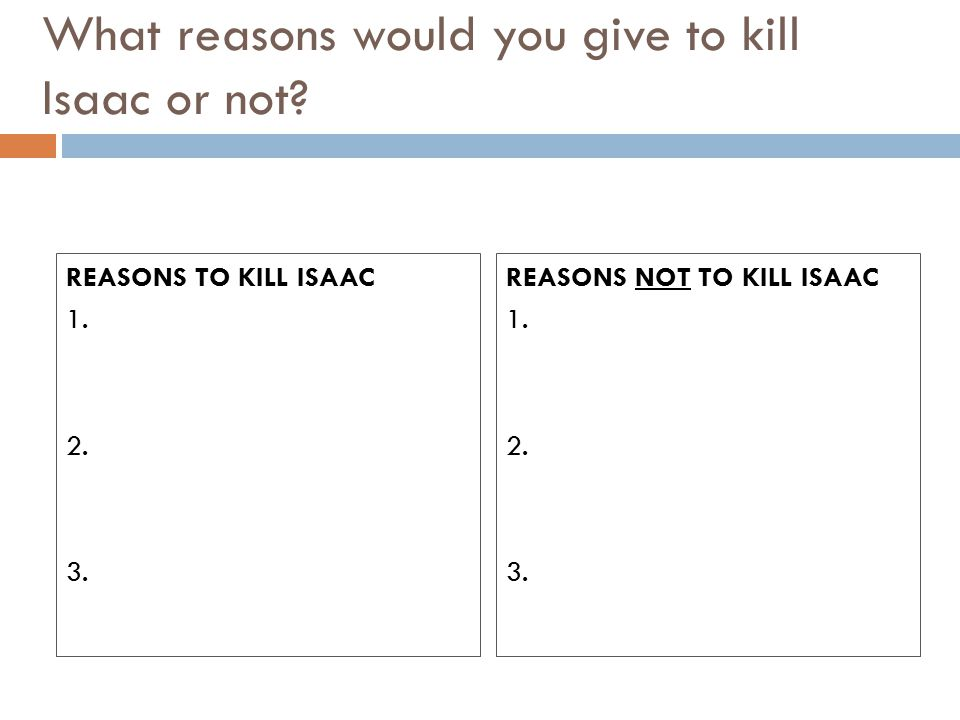 What reasons would you give to kill Isaac or not