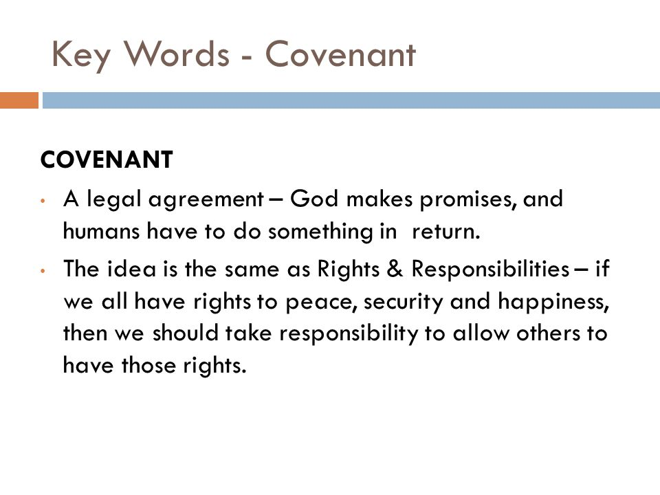 Key Words - Covenant COVENANT