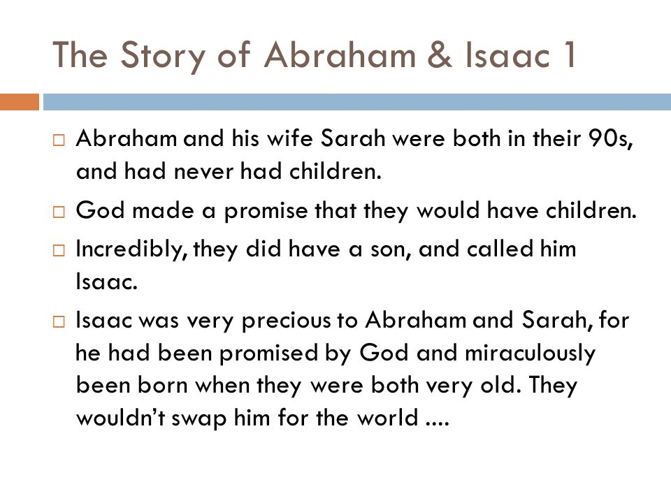 The Story of Abraham & Isaac 1