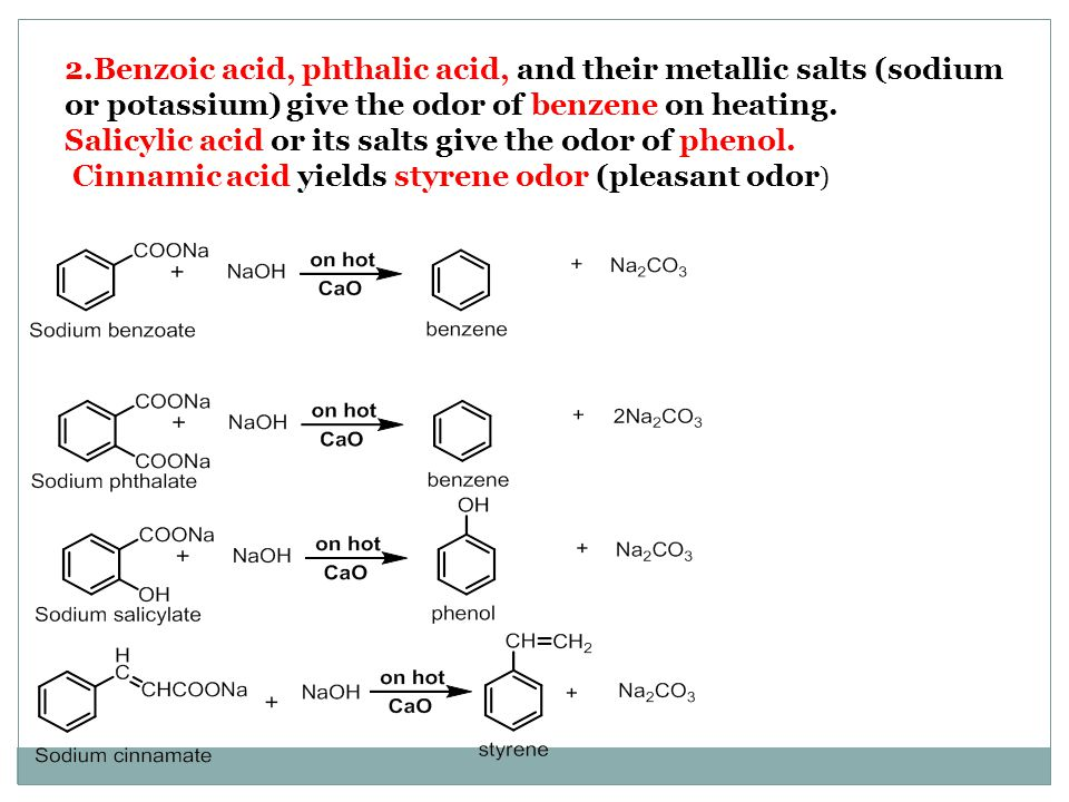 2.Benzoic acid, phthalic acid, and their metallic salts (sodium or potassium) give the odor of benzene on heating.