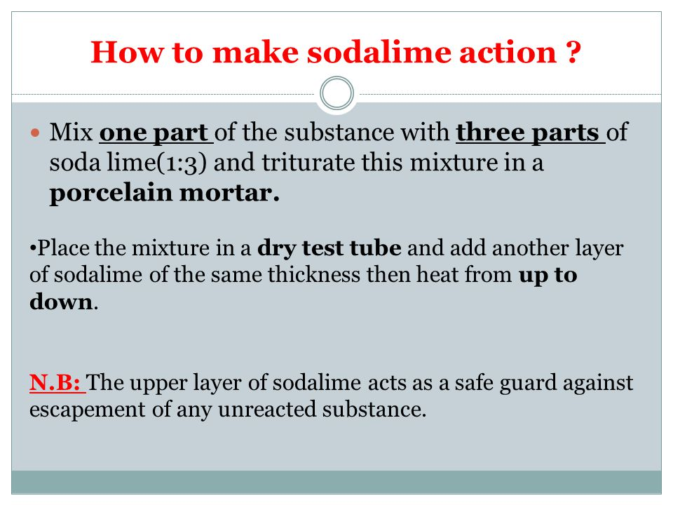How to make sodalime action