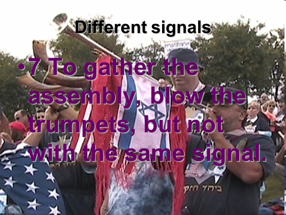 Different signals 7 To gather the assembly, blow the trumpets, but not with the same signal.