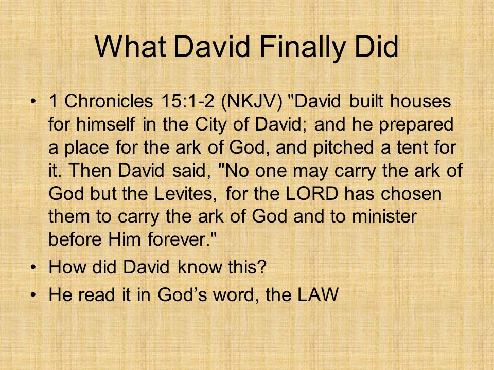 What David Finally Did