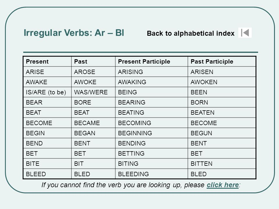 Irregular Verbs: Ar – Bl