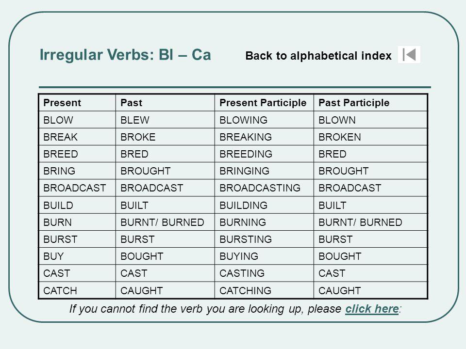 Irregular Verbs: Bl – Ca