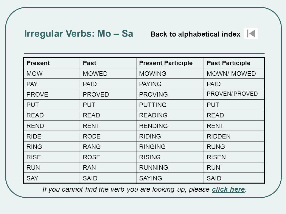 Irregular Verbs: Mo – Sa