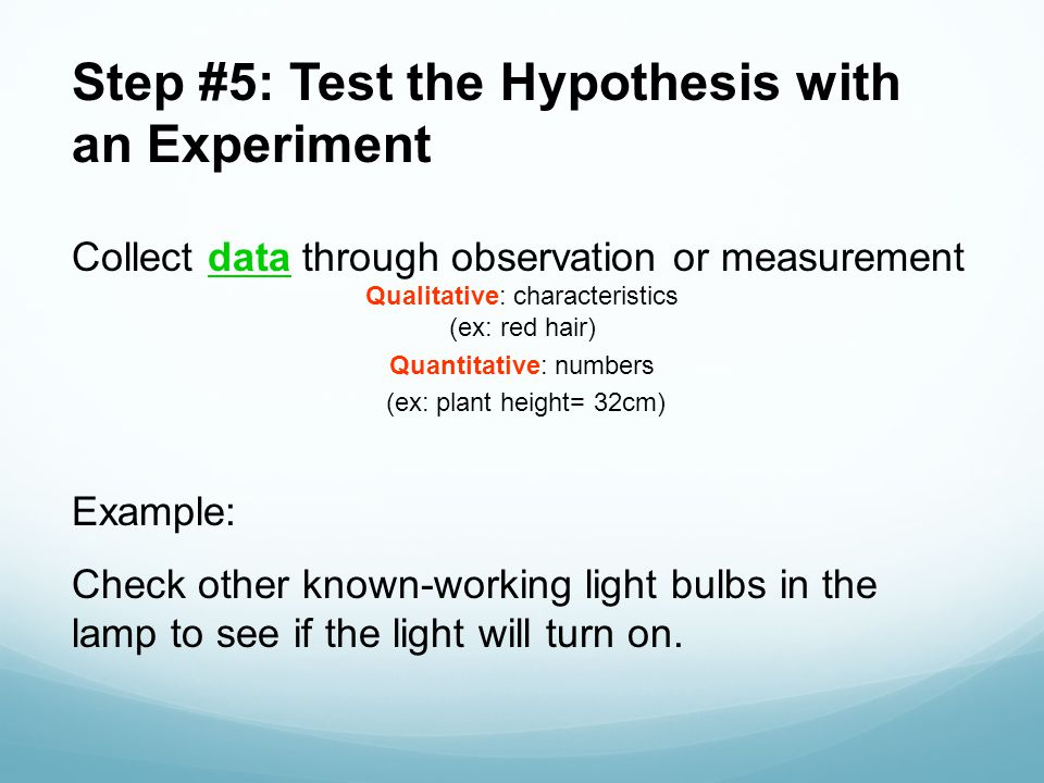Step #5: Test the Hypothesis with an Experiment