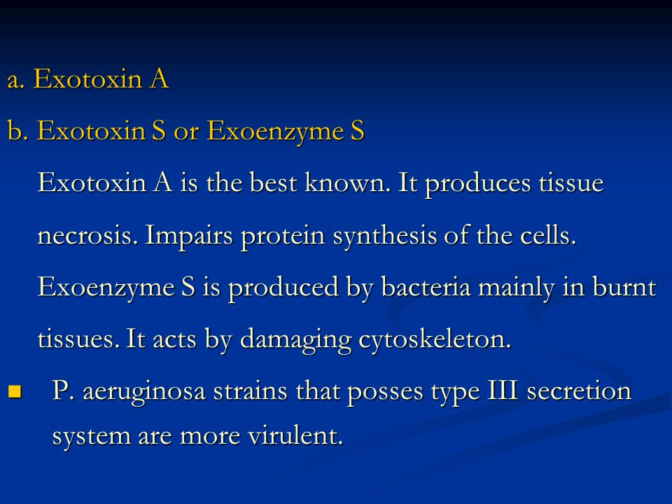a. Exotoxin A b. Exotoxin S or Exoenzyme S. Exotoxin A is the best known. It produces tissue. necrosis. Impairs protein synthesis of the cells.