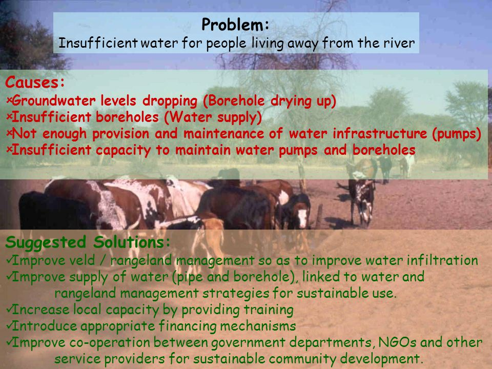 Insufficient water for people living away from the river