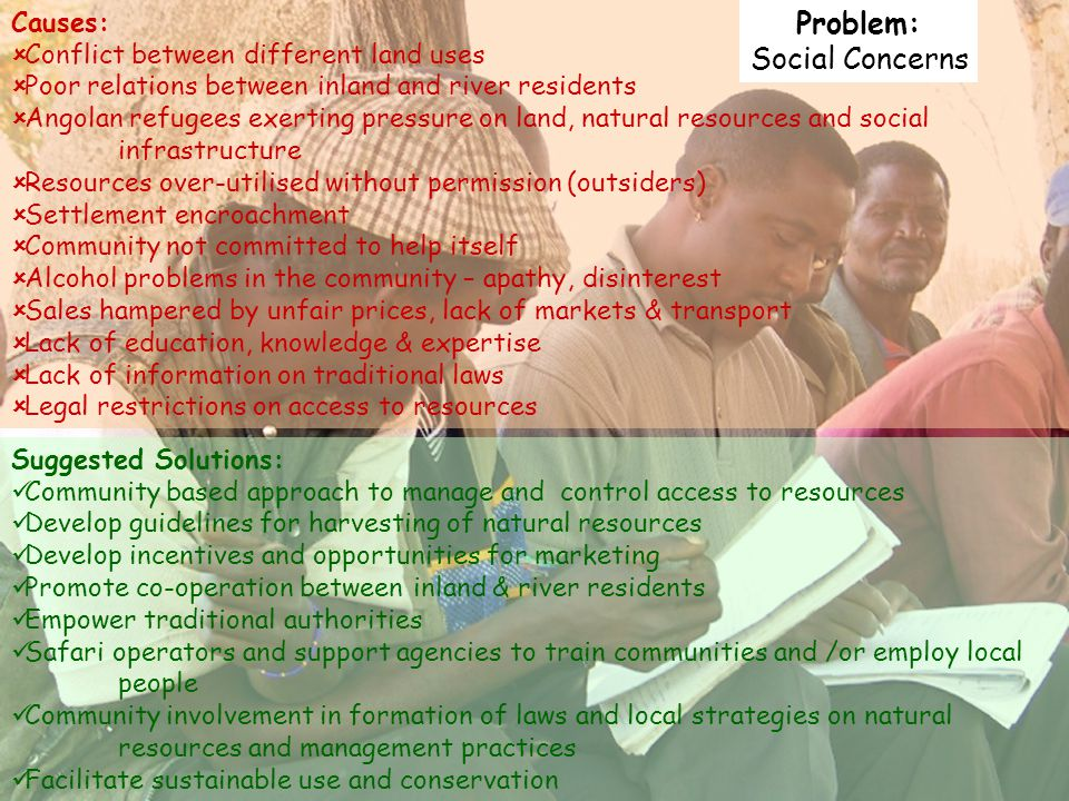 Problem: Social Concerns Causes: Conflict between different land uses