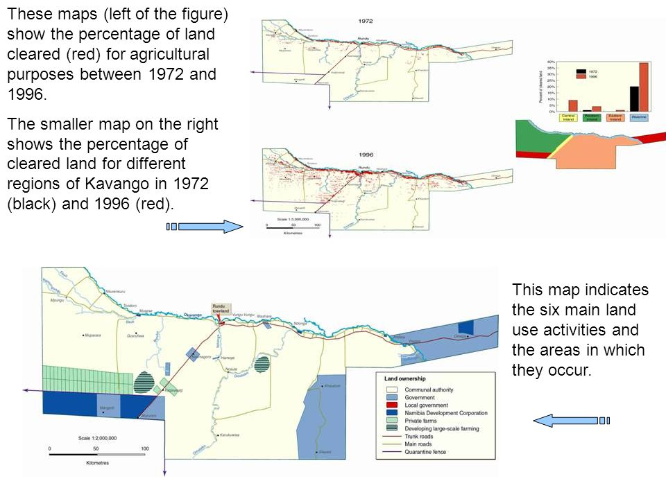 These maps (left of the figure) show the percentage of land cleared (red) for agricultural purposes between 1972 and 1996.