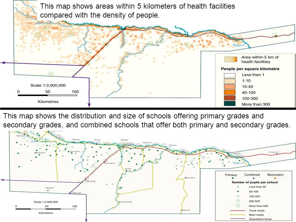 This map shows areas within 5 kilometers of health facilities compared with the density of people.