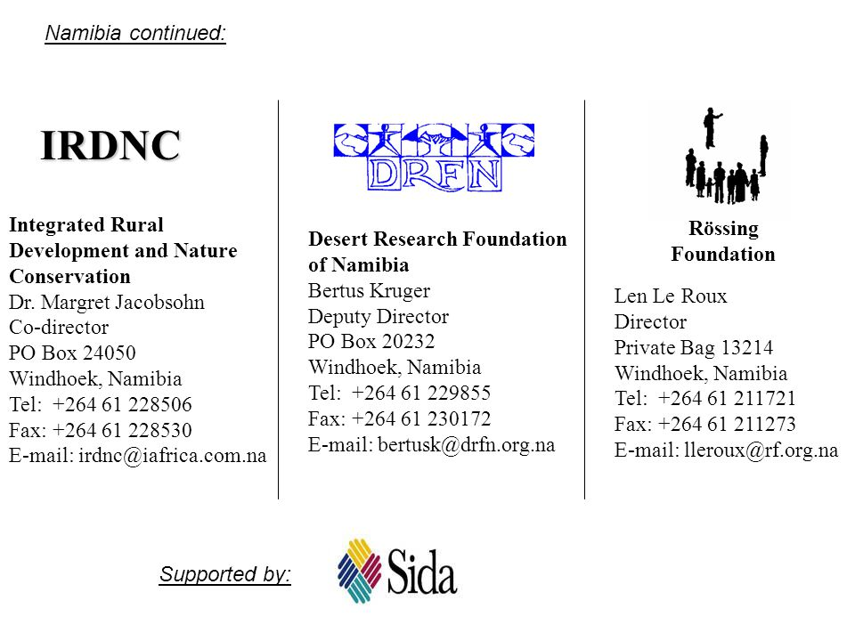 IRDNC Namibia continued: