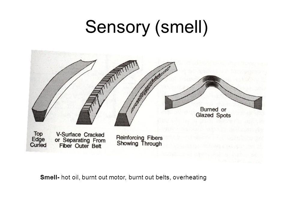 Sensory (smell) Smell- hot oil, burnt out motor, burnt out belts, overheating