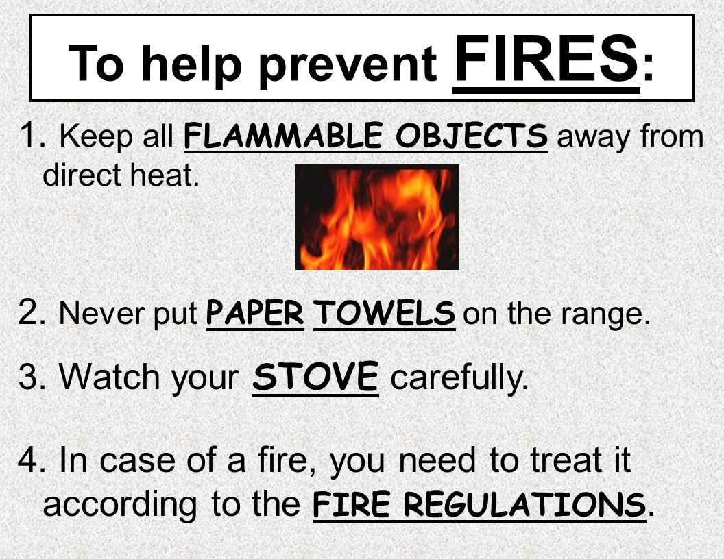 To help prevent FIRES: Keep all FLAMMABLE OBJECTS away from direct heat. 2. Never put PAPER TOWELS on the range.