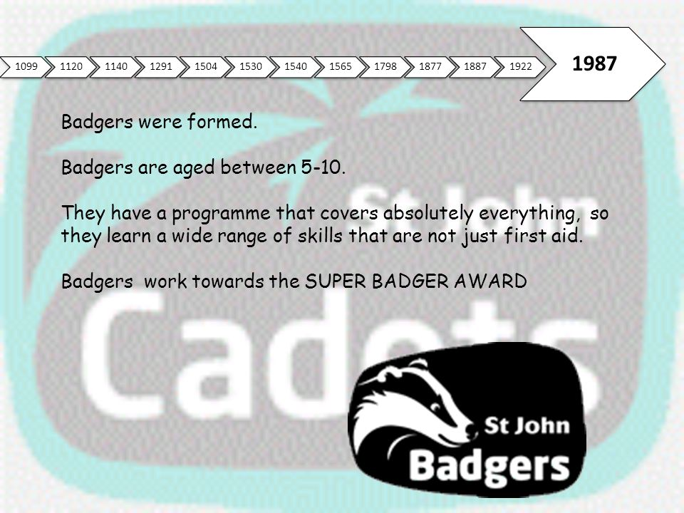 1987 Badgers were formed. Badgers are aged between 5-10.