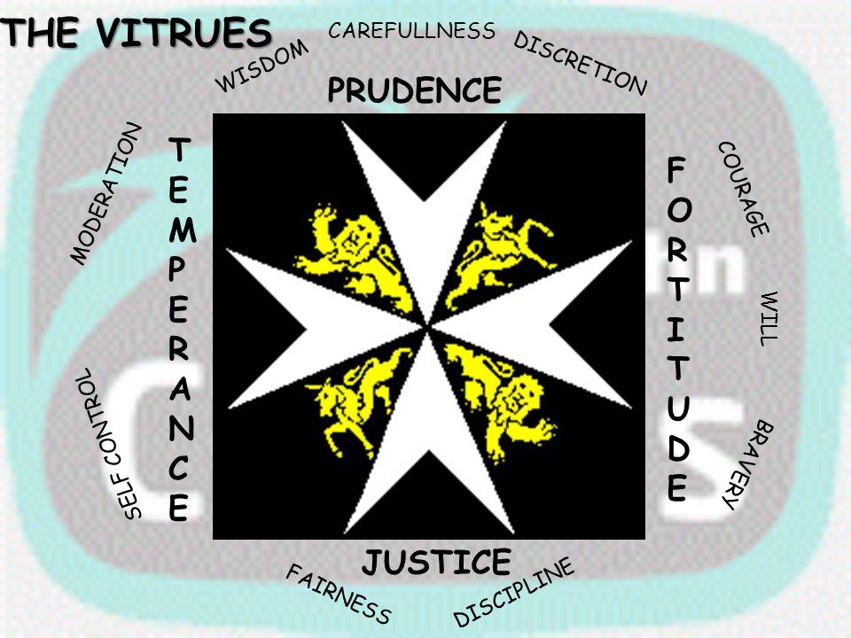 THE VITRUES PRUDENCE TEMPERANCE FORTITUDE JUSTICE CAREFULLNESS