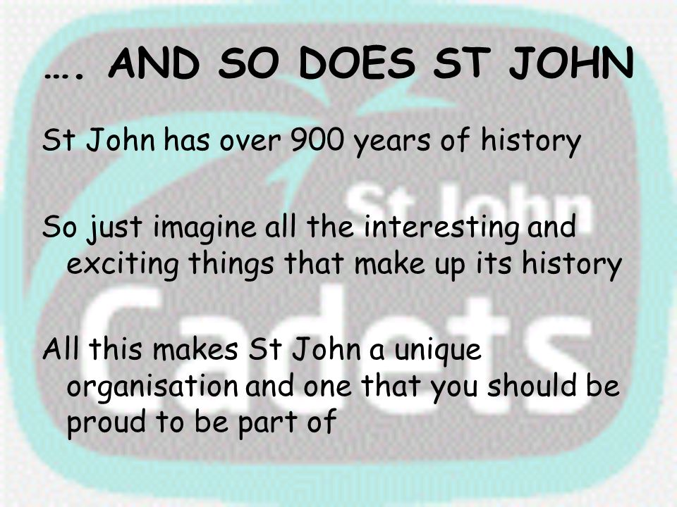 …. AND SO DOES ST JOHN