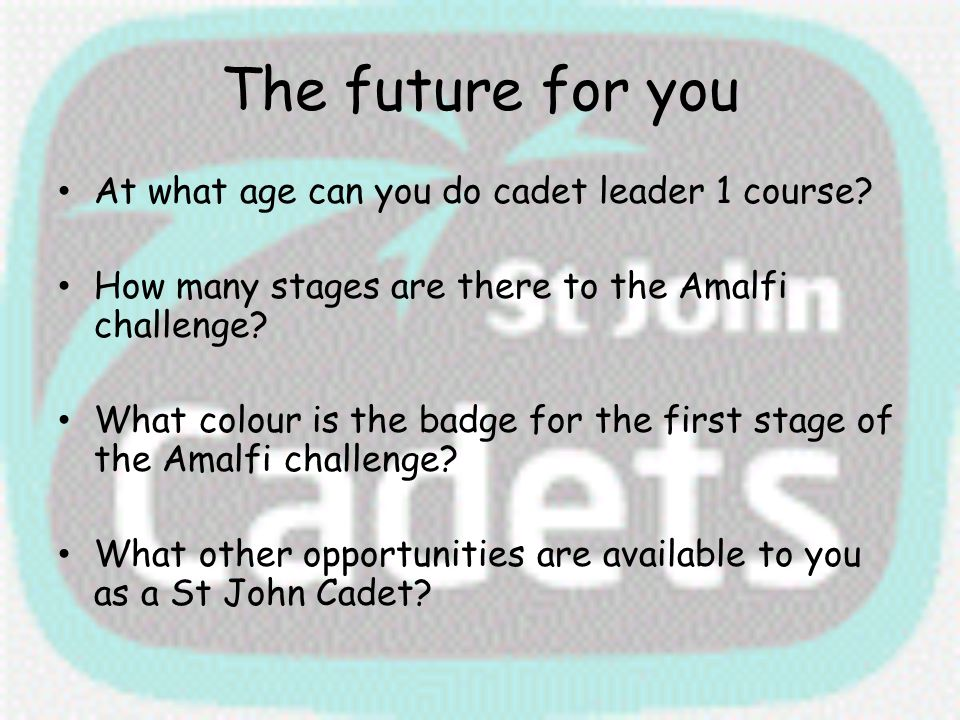 The future for you At what age can you do cadet leader 1 course